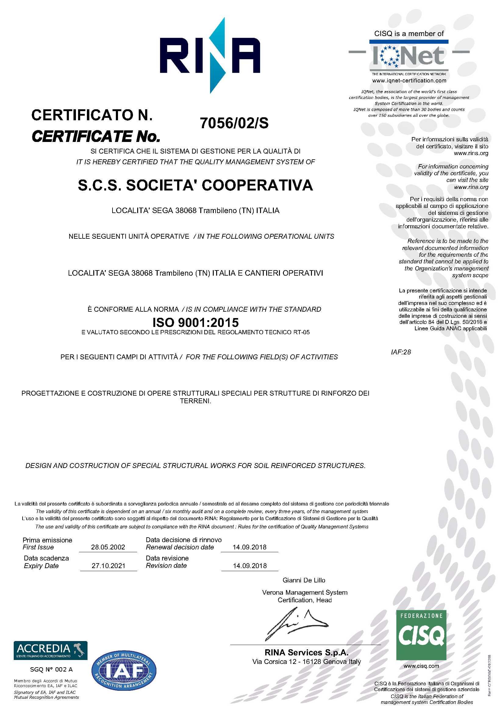 ISO 9001:2015 ISO Certificazione sistema qualità